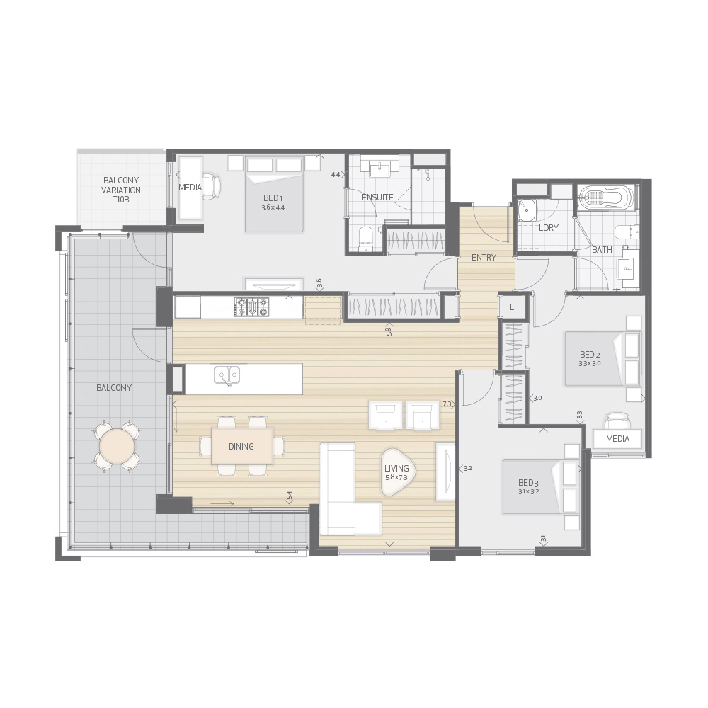 Individual Apartment Plan Type T10A T10B