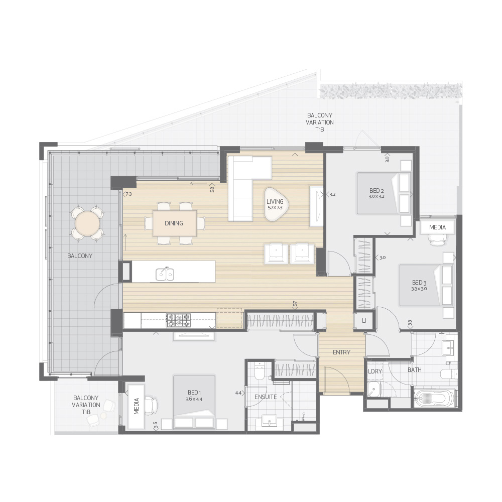 Individual Apartment Plan Type T1A T1B