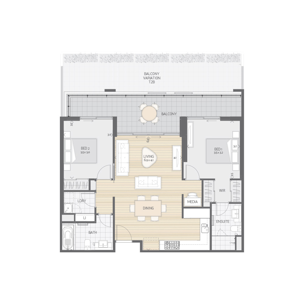Individual Apartment Plan Type T2A T2B