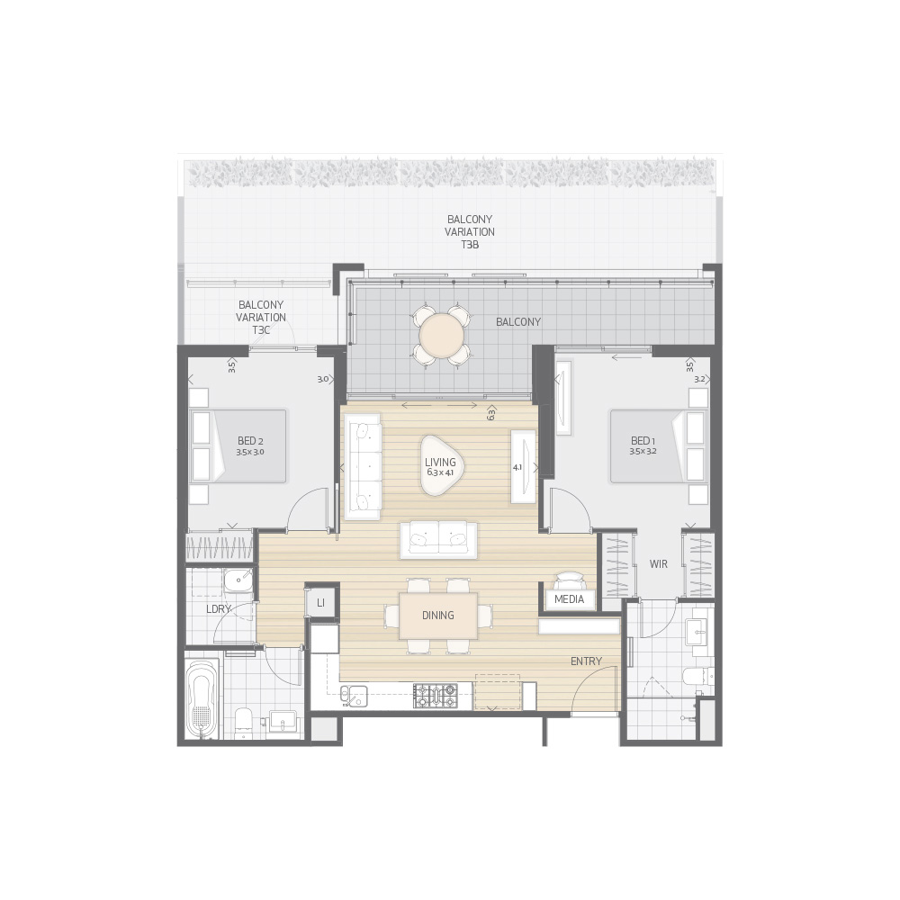 Individual Apartment Plan Type T3A T3B T3C