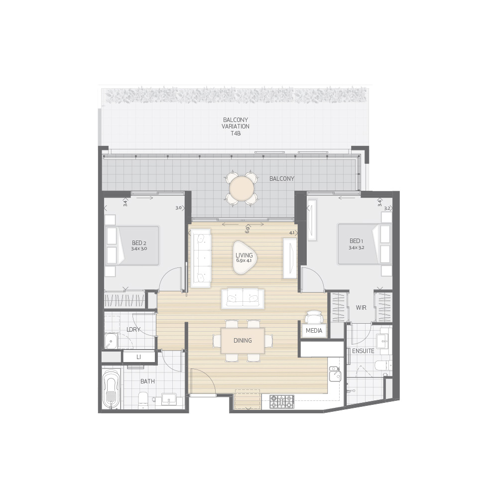 Individual Apartment Plan Type T4A T4B