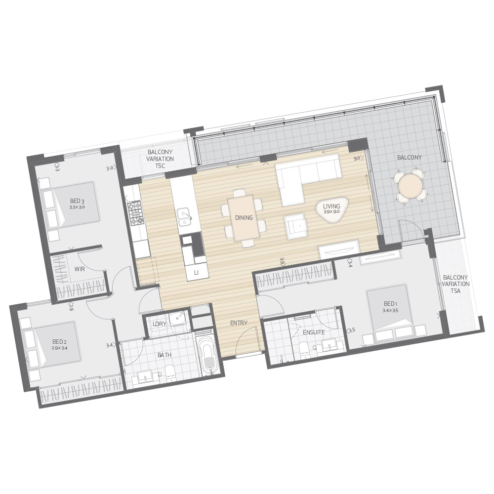 Individual Apartment Plan Type T5A T5B T5C