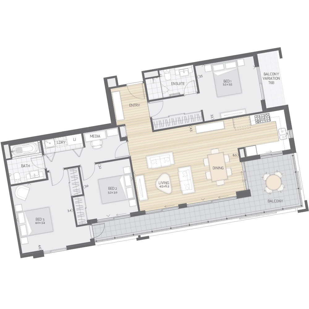 Individual Apartment Plan Type T6A T6B