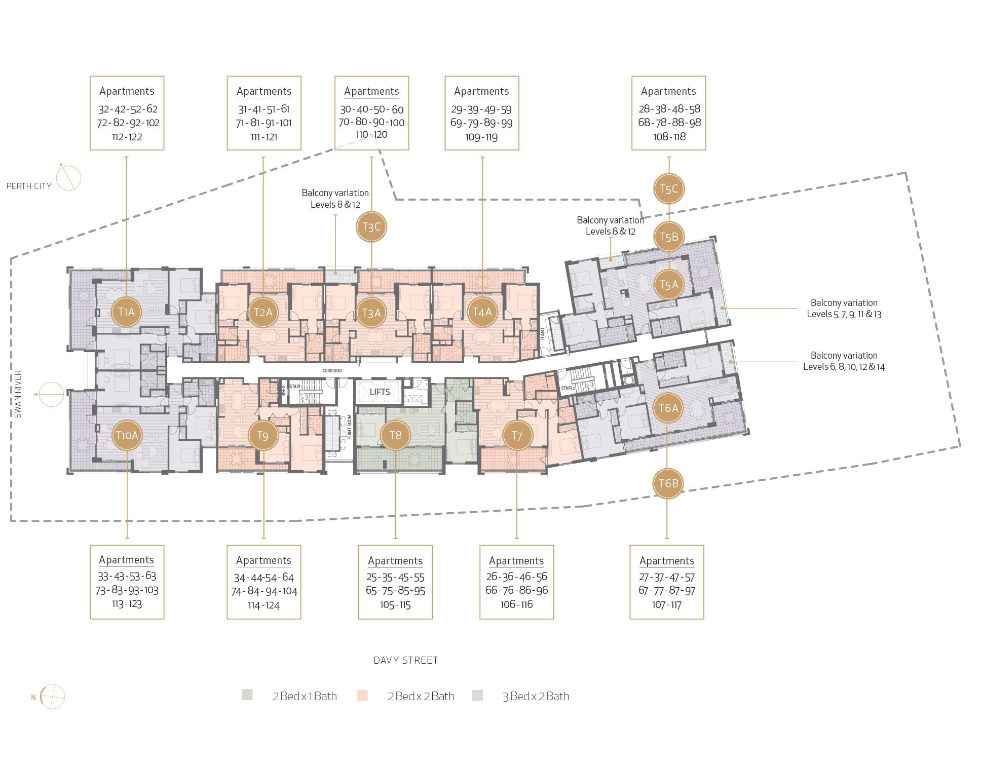 Floor Plate - Floor 5-14 - 2x